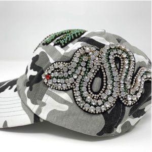 SALE‼️CAMOUFLAGE CRYSTAL & BEADED HAT